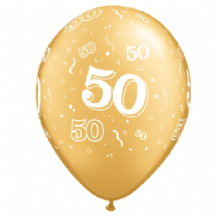 50th Gold  - 11 Inch Balloons 25pcs
